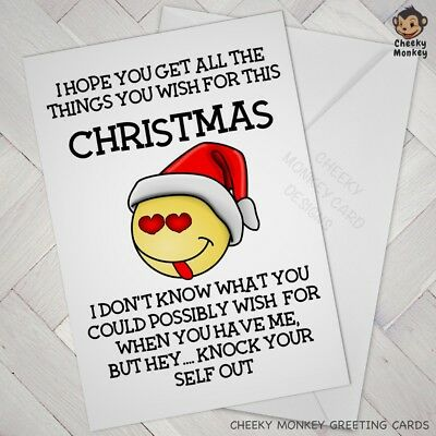 Funny CHRISTMAS CARD male female xmas cards FIANCE wife husband offensive Rude
