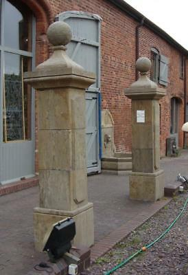 Large Pair of Gate Posts / Pillars - Carved from Solid Stone - Height 256cm