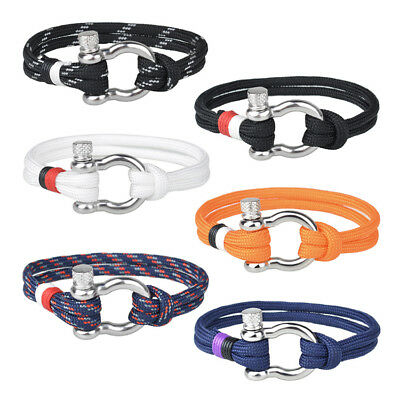 Men's Stainless Steel U Shaped Buckle Paracord Rope Nautical Sailing Bracelet 1X