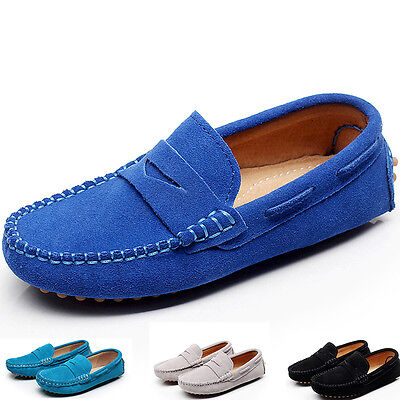 Boys Girls Kid's Suede Leather Loafers Shoes Slip On Casual Moccasins Flats Cute