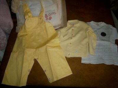 New Vintage Baby Outfit & Card Tiny World Size 18 mo Shirt Overalls Sweater