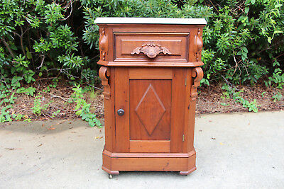 Fancy Walnut Victorian Marble Top Half Commode Nightstand Cabinet ~ Ca.1870