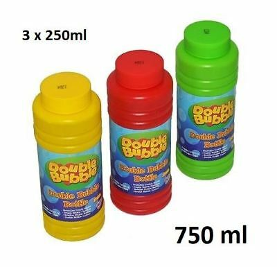 3x250ml Large Bubble Mix Liquid Bubble Blowing Solution Tub Kid Party School Toy
