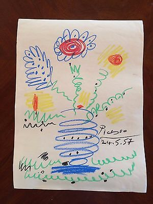 Large Original Crayon Drawing Signed Picasso Abstract Modernist Painting 21""