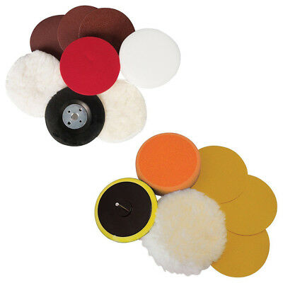 Sanding & Polishing Kit 6-8pc Pad Sponge Discs Grinding Polishing 115 125 180mm