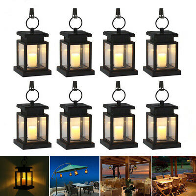 4x 8x Solar Led Hanging Lantern Light Waterproof Outdoor Garden Yard Lamp Decor