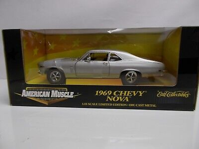 NEW American Muscle 1969 Chevy Nova SS 396 Silver 1/18 Diecast MODEL DISPLAY CAR