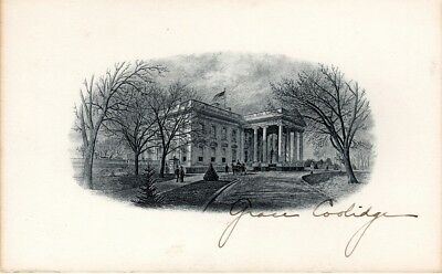First Lady Grace Coolidge, hand signed White House Engraving card