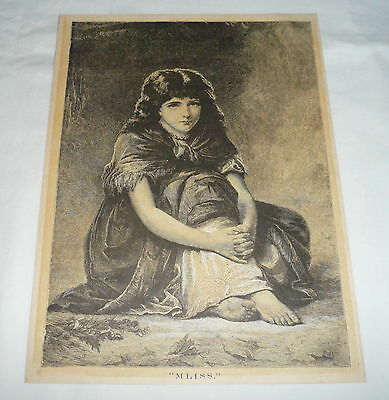 1877 magazine engraving ~ YOUNG GIRL SITTING IN THE YARD