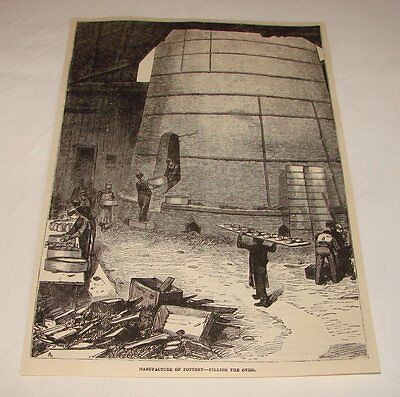 1877 magazine engraving ~ MANUFACTURING POTTERY, Filling the Oven