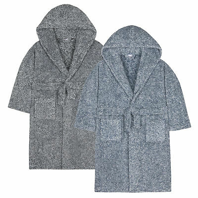 Kidz Boys Snuggle Soft Hooded 2 Tone Dressing Gown Robe