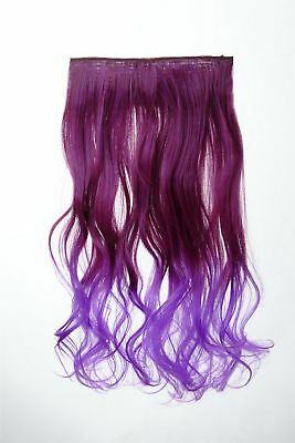 Extension Hair Extensions Clip-In 5 Clip Curly Two-Tone Ombre Purple 50cm Long