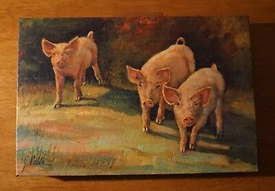 Pig Sign Country Kitchen Farm Rustic Primtive Framed Canvas Painting Home Decor