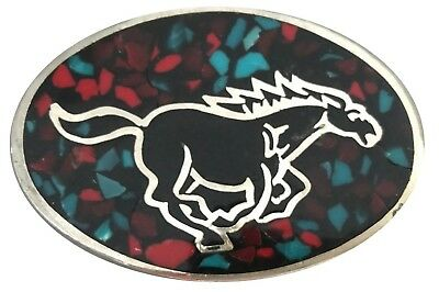Vtg Horse Belt Buckle Running Turquoise Equestrian Farm Gift Idea Inlay Wild 70s