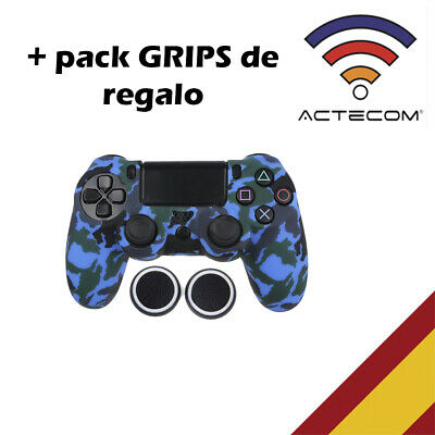 Actecom® Funda + Grip Silicona Camuflaje Azul Mando Sony Ps4 Playstation 4