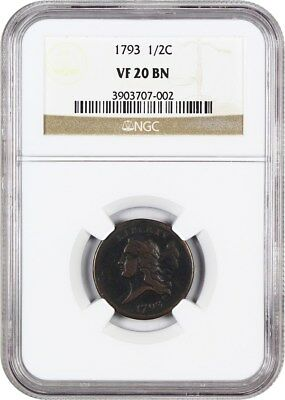 1793 1/2c NGC VF20 BN - Wholesome Early Half Cent - Half Cent