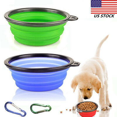 2x Collapsible Dog Bowl Foldable Portable Dish for Pet Cat Food Water Travel US