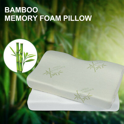 Bamboo Contoured Memory Foam Pillow Cervical Neck Pillow for Side Back Sleepers