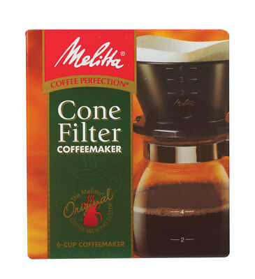 NEW! MELITTA Pour Over Coffee Brewer Maker 6 Cups Black 640446