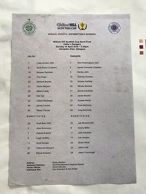 Rangers v Celtic 15th April 2018 Scottish Cup Semi Final MINT PRESS Teamsheet