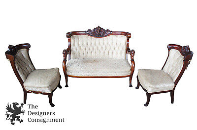 S. Karpen Bros 3 Pc Continental Mahogany Parlor Set Figural Settee Chairs