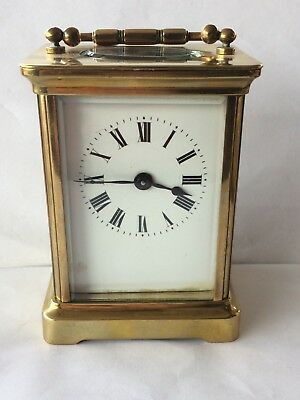 Brass Mantle Wind Up Carriage Clock & Key Fully Working Lovely Ticking Sound