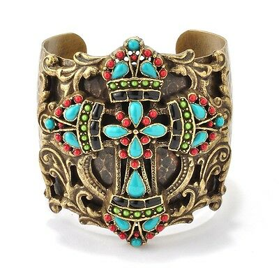 New Sweet Romance Hand Enameled Mayan Cross Cuff Bracelet ~~Made In Usa~~