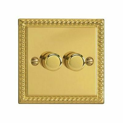 Varilight Classic 2 Gang 2 Way Push On/Off LED Dimmer Switch - Georgian Brass