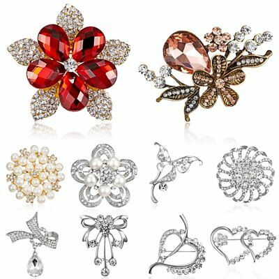 Wedding Women Heart Flower Tree Crystal Pearl Brooch Pin Breastpin Jewelry Party