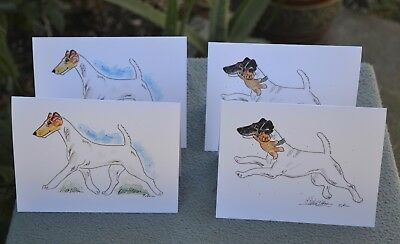 Smooth Fox terrier.Post cards made from my original watercolor.Set of 4 .!