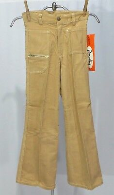 Vintage 70s Jeans Corduroys Cords NWT Girls sz 7 Tan Bell Bottoms
