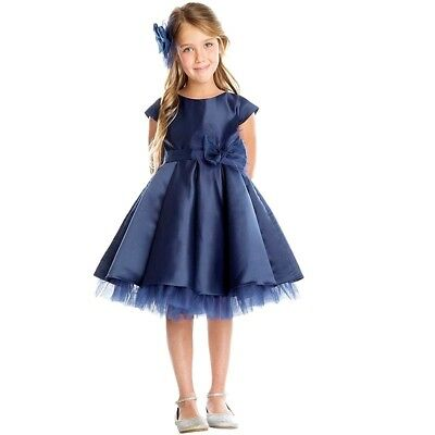 ad99153d1bf Sweet Kids Little Girls Navy Pleated Mesh Under Layer Christmas Dress 3T