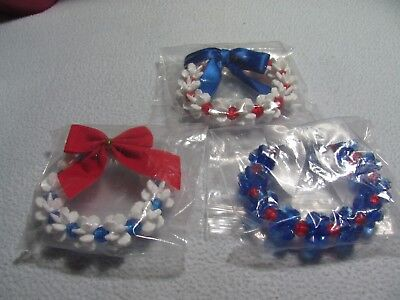 "NEW Christmas 3 Pc Patriotic Assorted 3"" Wreaths"