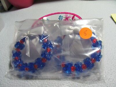 "NEW Christmas 2 Pc Patriotic Red and Blue w/ White Bows 3"" Wreaths"