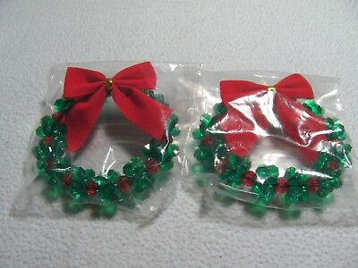 "NEW Christmas 2 Pc  Red and Green w/ Red Bows 3"" Wreaths"