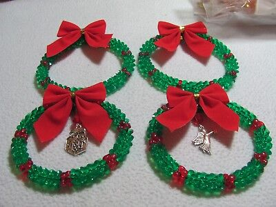 """NEW Christmas 4 Pc  Red and Green w/ Red Bows Wreaths, 2-3 1/2"""", 2 - 4"""""""