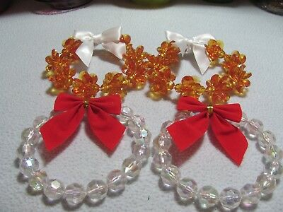 "NEW Christmas 4 Pc Assorted  4"" Wreaths, 2 Gold Tone,2 Clear"