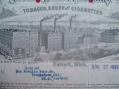 1923 EARLY PIC Fort St.,by Detroit River STEAMSHIPS,Tobacco Maker's,letterhead!