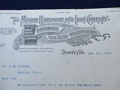 "1908 ""Oval Covered Wagon Wooden bows MFG.,"" Aguilar,Denver,Colorado Letterhead!!"