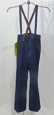Vintage 70s Suspender Pants Denim Jeans NWT Girls sz 6X Flares Bell Bottoms