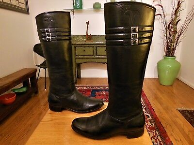 Vintage Unbranded Men's Tall Rare Black Leather '50s Riding Boots 9.5M