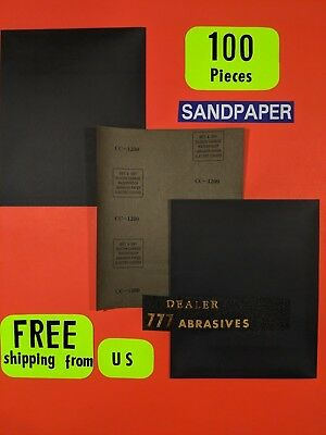 "100-Wet-Dry-Sanding Sheets-1200Grit-Silicon-Carbide-9x11""Waterproof-Paper"
