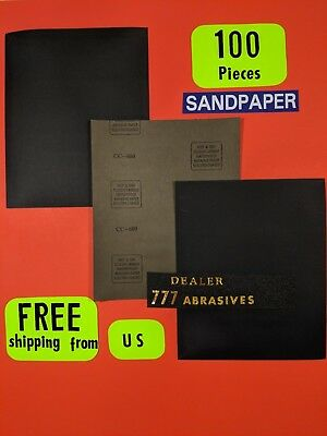 "100xWet Dry Sanding Sheets-600 Grit Silicon-Carbide-9x11"" Waterproof Paper"