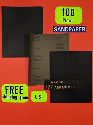 "100-Wet-Dry-Sanding Sheets -800Grit-Silicon-Carbide-9x11"" Waterproof Paper"