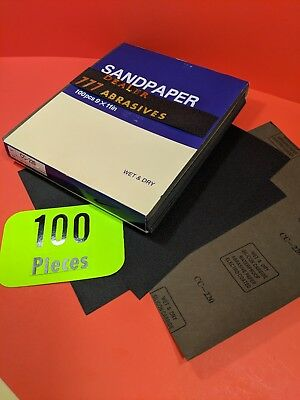 "100 x Wet Dry Sanding Sheets  -220 Grit  Silicon-Carbide 9x11""Waterproof  Paper"