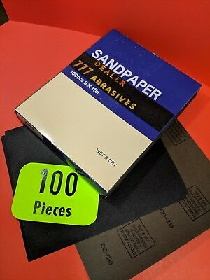 "100xWet Dry  Sanding Sheets  240-Grit  Silicon-Carbide-9x11""  Waterproof Paper"