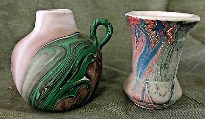 2 SEVEN FALLS SWIRL CABINET POTTERY Pcs. JUG & VASE - MADE IN COLORADO