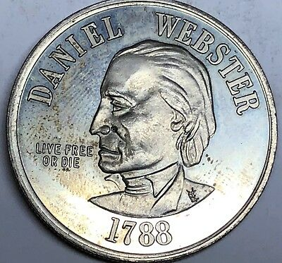 Coins & Paper Money Daniel Webster New Hampshire State 39mm Medal