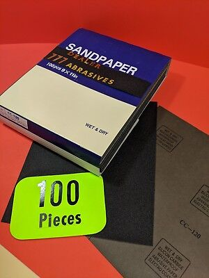 "100xWet-Dry-Sanding Sheets  120-Grit  Silicon-Carbide 9x11""  Waterproof Paper"