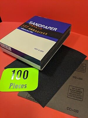 "100xWet-Dry  Sanding Sheets  100 Grit  Silicon-Carbide-9x11""   Waterproof Paper"